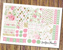 Pink and Mint Vintage Roses Planner Stickers Weekly Planner Stickers Weekend Banner Heart Checklist Vertical Planner Floral Stickers 141
