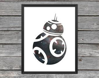 BB-8 Droid Poster BB-8 Print Star Wars BB-8 Art bb-8 Outline Star Wars Art Star Wars Print Outer Space Art Galaxy Art Nebula Art Download