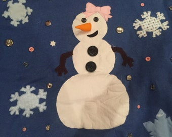 Snowman Christmas Sweater with bow