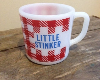 "Westfield Milk Glass Oven Proof Mug, Gingham, ""Little Stinker"""