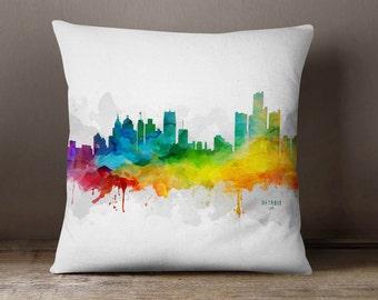 Detroit City Skyline Throw Pillow, 18x18, Detroit Cityscape, Detroit Pillow Case, Cushion, Gift Idea, MMR-USMIDE05PI