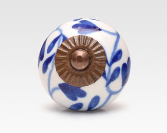 Ceramic knob, blue on white, vintage