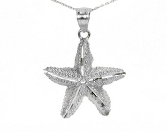 14k White Gold Starfish Necklace