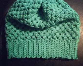Puff stitch slouchy beanie toddlers/kids/adult sizes