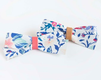 Floral Nylon Headband or Crocodile Clip Leather Baby Bow, Little Girl Bow, Adult Bow, Blue Floral & Coral, Camel Brown Floral Bow