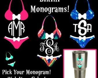 Bikini Monogram Swimsuit Glitter Bikini Custom Monogram Vinyl Decal Yeti Cup Decal Car Window Sticker