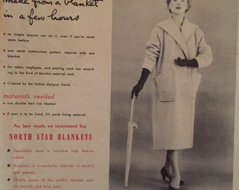 1950s sewing pattern for coat sewn from a blanket