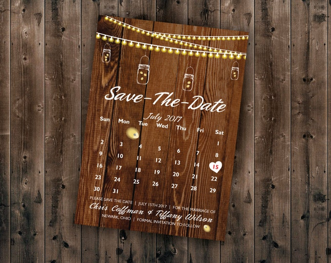Calendar Country SAVE the DATE card Printed, Cheap Save the Date cards, Affordable Save the Dates, Lights, Calendar, Wood, Rustic, Mason Jar