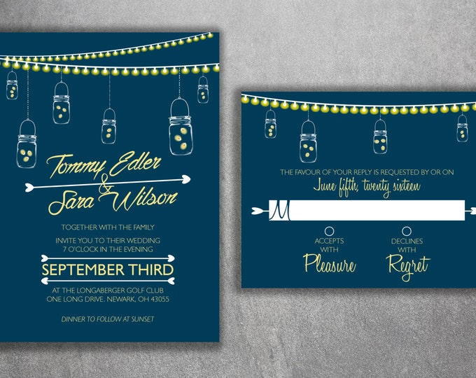 Affordable Mason Jar Wedding Invitations Set Printed, Cheap Wedding Invitation, Burlap, Lights, Outside, Southern, Rustic, Country