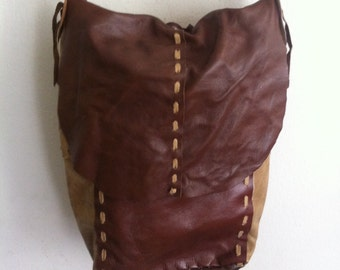 Handmade crossbody bag for woman, handbag from real leather, vintage, vinous & brown color, size: medium