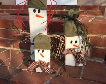 Wooden Country Snowmen