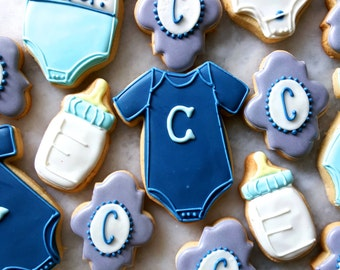 Baby Onesie + Initial Sugar Cookie Assortment