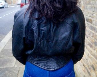 Black 1980's bomber genuine Leather Jacket ( ON SALE )