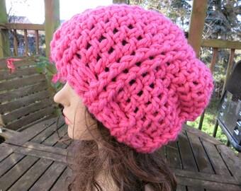 Crochet beret crochet has Klara pink