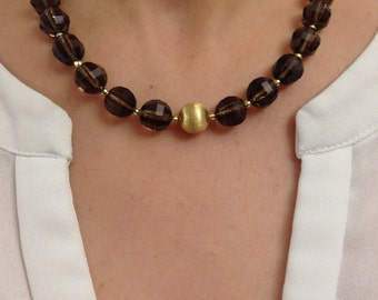 Necklace made of faceted smoky quartz and 18 K Gold
