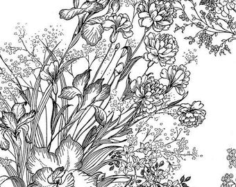 Bare Essentials by RJR Fabrics - 0341-4 -Black floral on white
