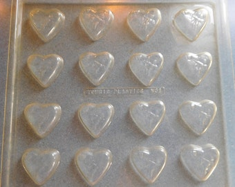 Valentines Bite Size Miniature Heart with Cupid Sheet of 16 by Tomric Vintage Plastic Candy Mold