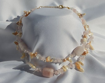 Necklace Rose Quartz and Seashell