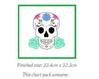 Flower Sugar Skull Counted Cross Stitch Chart