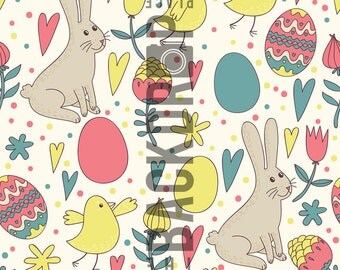 Large Photography Backdrop - Bunnies & Chicks - 5'x5', 5'x6', 5'x7', 5'x10'