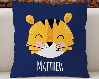 """Personalized Kid's Pillow, Nursery pillow, cute tiger pillow,  18""""x 18"""" children's room decor, gift for kids"""