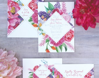 Floral Diamond Wedding Invitation Sample