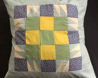 """Light Blue, Green & Yellow - Patchwork Cushion Cover - 18"""""""