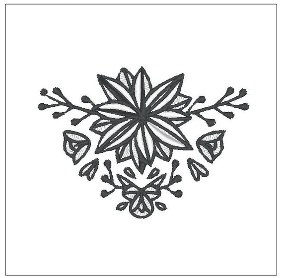 Center flower wedding towel embroidery pattern inch download