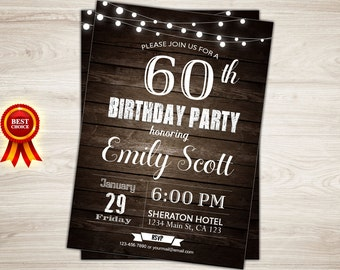 Surprise 60th birthday invitation. Man Surprise birthday party invitation. 60th Birthday Invitation for Men. 40th 50th 60th birthday invite