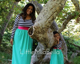 CLEARANCE 1 dress only Maxi dress long sleeve, mommy and me,  mother daughter,casual dresses, party, junior, baby, summer dresses