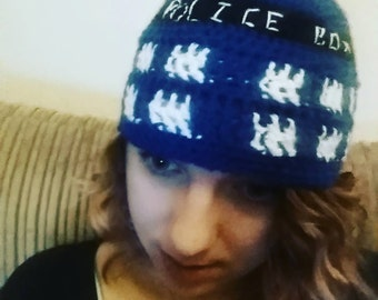 Dr Who Tardis Crochet Hat