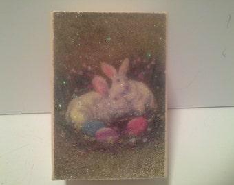 Bunny glittered gift box, heavy cardboard