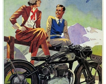 Vintage Zundapp Motorcycle Advertising Poster Print
