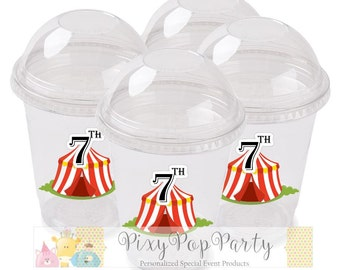 Circus Party Custom Snack Cups, Bigtop Party Theme, Carnival Party Popcorn Cups, Circus Party Favors (10 pc)