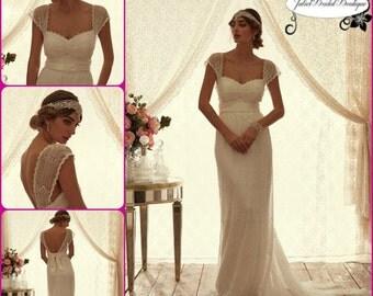 BOHEMIAN WEDDING DRESS,Boho Wedding Dresses,Beach Wedding Dress,V neck,Retro,White wedding dress,Vintage Wedding dresses,Ivory wedding dress
