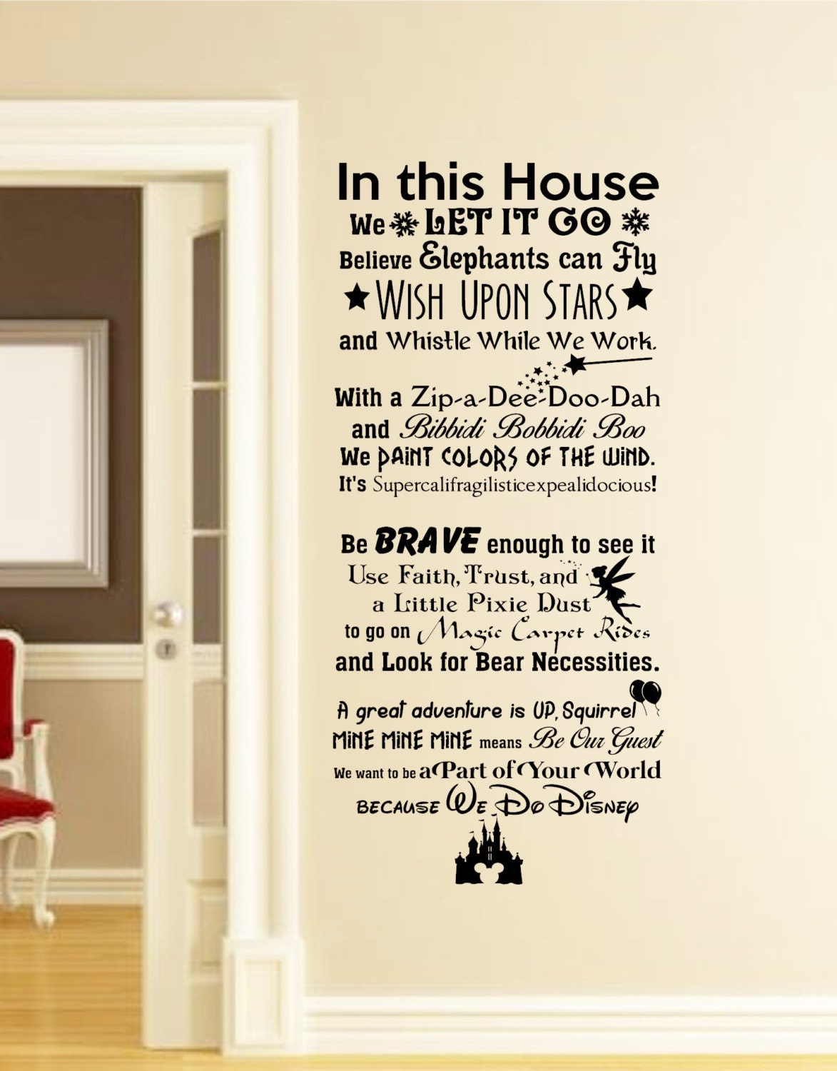 in this house we do disney wall decal disney wall quotes wall. Black Bedroom Furniture Sets. Home Design Ideas