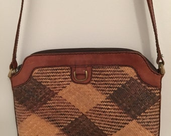 Vintage leather and woven 70's style handbag