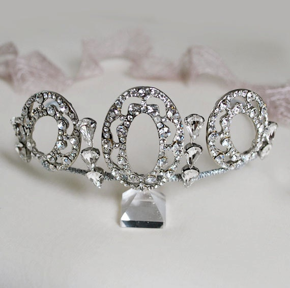 Elegant Bridal Set Heavy Gold Plated Diamante Crystal: Diamante Crystal Tiara