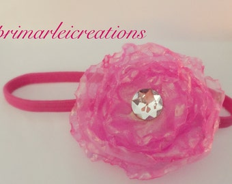 Pink flower head band
