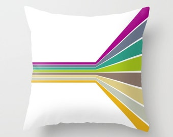 Retro Pillow Cover, Abstract Pattern, Retro Cushion Cover, Modern Throw Pillow, Lines Accent Pillow Color Decor, Optical Illusion Pillow Art