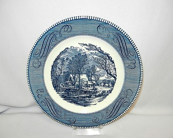 "Vintage Currier and Ives 10"" Royal Blue Dinner Plate"