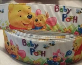 "3 yards, 7/8"" baby Winnie the pooh design grosgrain ribbon"