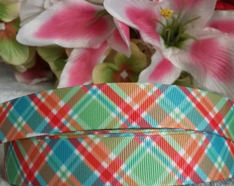 "3 yards,  7/8"" multi colored plaid design grosgrain ribbon"