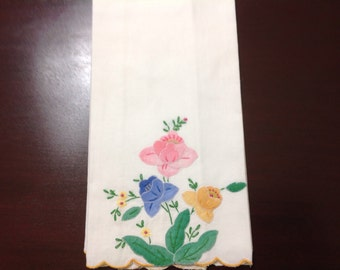 Vintage Embroidered Linen Guest Hand Towel