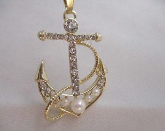 Nautical Necklace Gold Anchor Necklace Beach Necklace