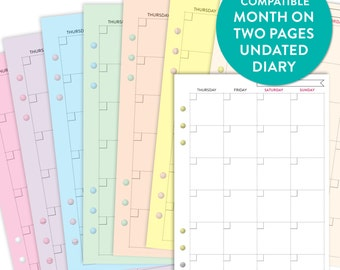 PRINTED 2016-2017 Undated Month on Two pages MO2P A5 FILOFAX Kikki K Compatible Diary Insert Refill