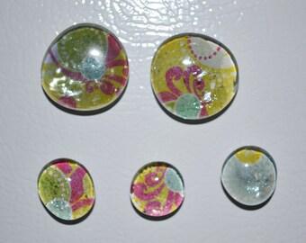 Birght and Colorful Artsy Glass Gem Magnets,  Handmade Bubble Glass Gem Magnets, Set of Five, Paper Gem Magnets, Refrigerator Magnets