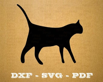 CNC Cat dxf files - Cnc files and laser cutting file - Vector vinyl - Dxf Svg Pdf file - files cnc - svg files for cricut