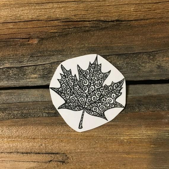 Maple Leaf Swirls Temporary Tattoo, Black Ink Outline Leaf Tattoo