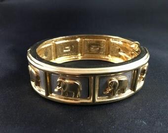 Vintage Bangle Bracelet of Gold Tone Elephants on Silver Rectangles
